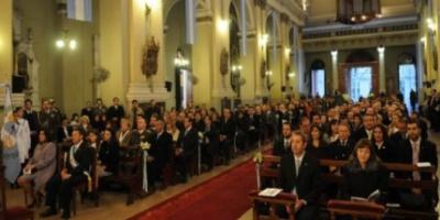 El vicepresidente Julio Cobos en Mendoza junto al gobernador Celso Jaque en el Tedeum